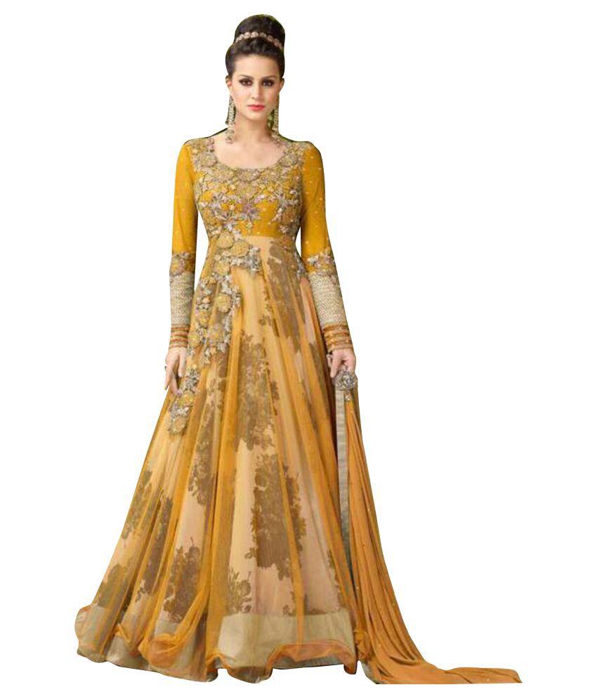 41a11b6e41 Fstore Yellow and Beige Bhagalpuri Silk Anarkali Semi-Stitched Suit - Buy  Fstore Yellow and Beige Bhagalpuri Silk Anarkali Semi-Stitched Suit Online  at Best ...