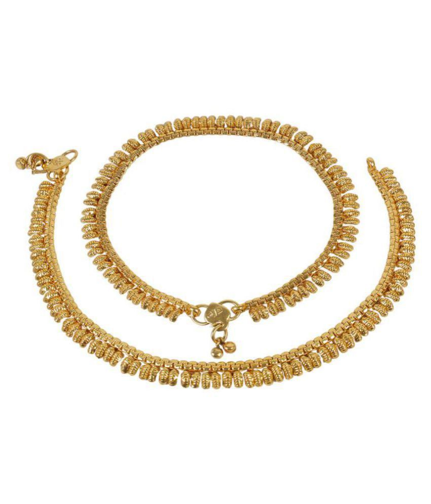 MUCH MORE Beautiful 22k Gold Plated South Indian Style Polki Anklet Payal for Women