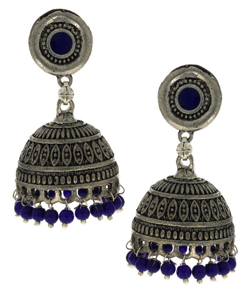 Anuradha Art Blue Colour Very Classy & Pretty Look Traditional Jhumkas/Jhumki For Girls Women