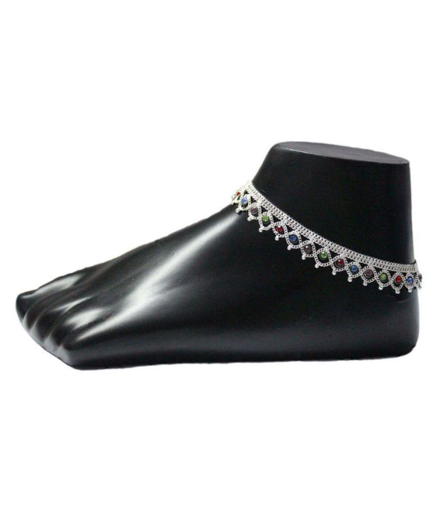 Aditi Fashionable Silver Plated Anklet Payal (Pack of 2)