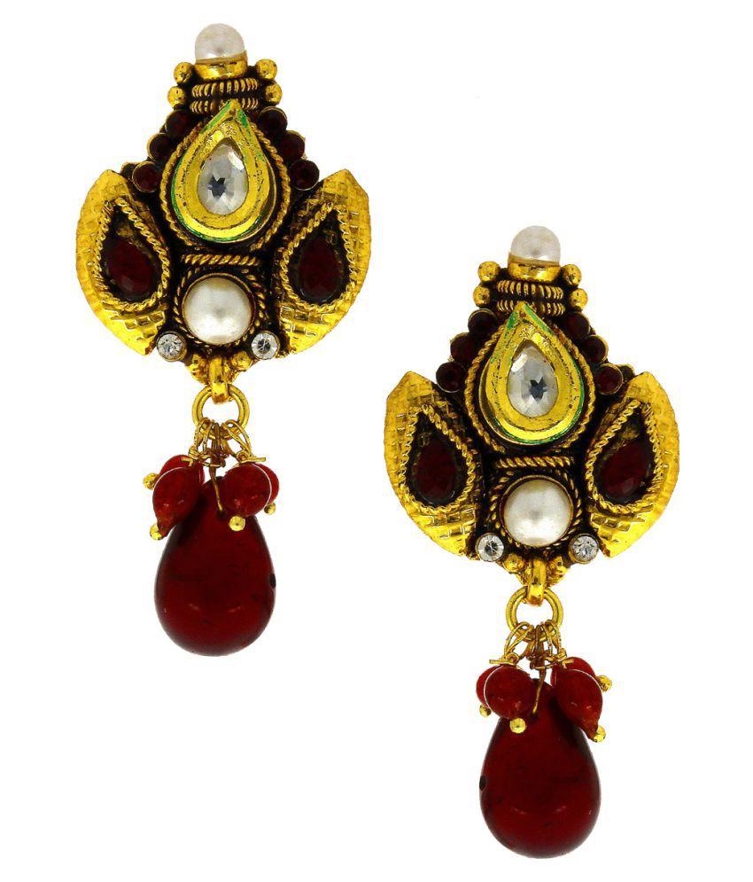 Anuradha Art Golden Finish Studded Maroon Colour Stone Traditional Earrings For Women/Girls