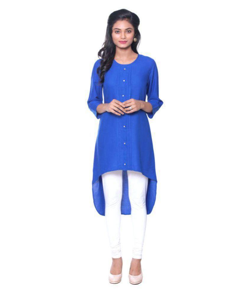 Unimod Blue Cotton High Low Hemline Kurti