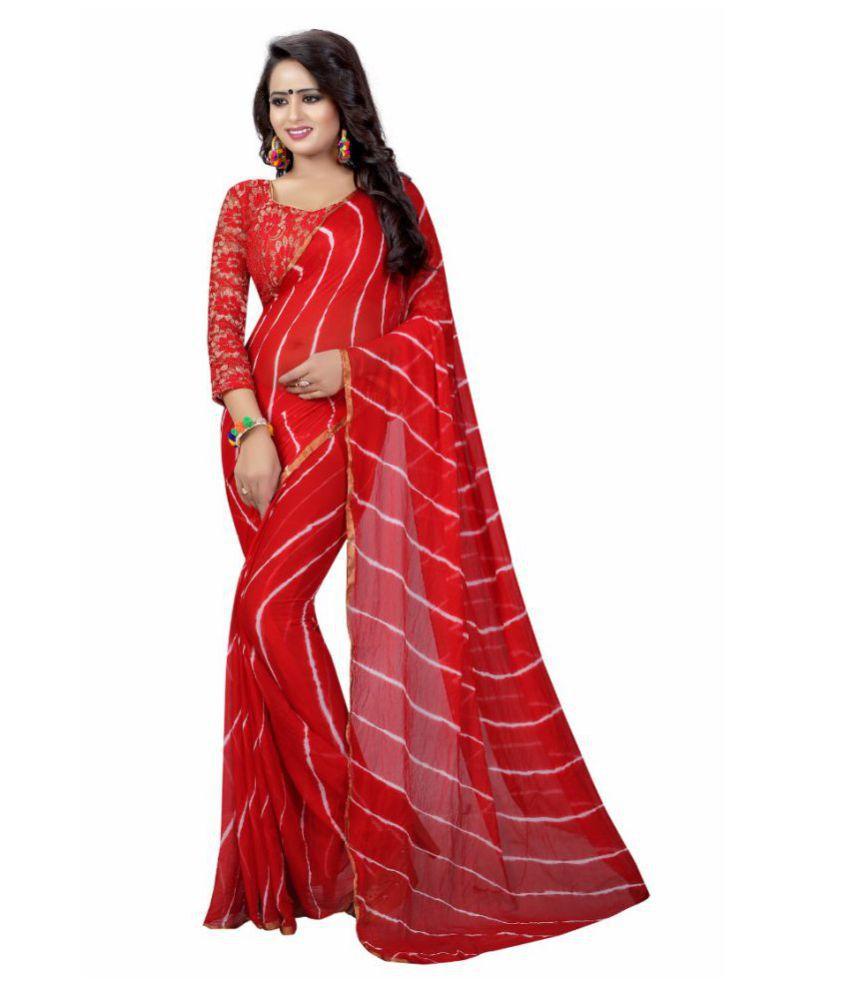Anjali Enterprise Red Chiffon Saree