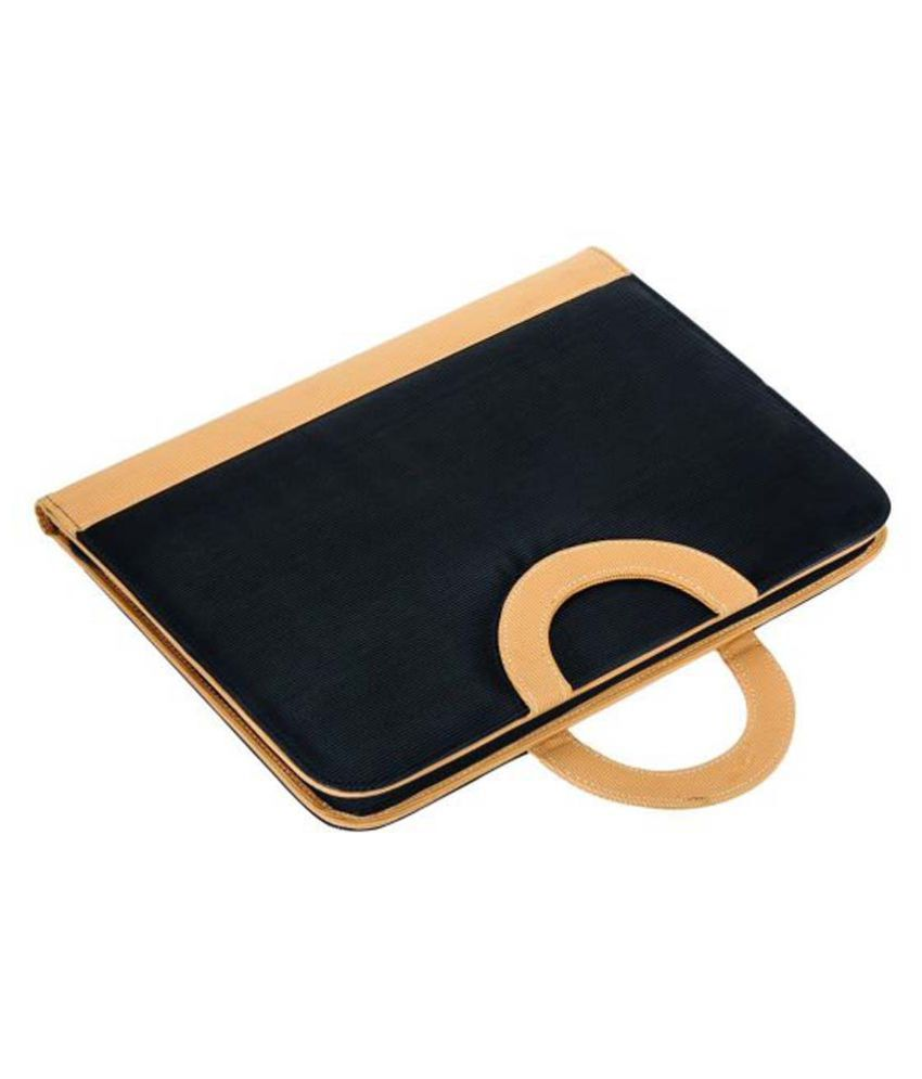 COI Black And Beige Conference Folder/Document Folder With Foldable Magnetic Handles And Writing Pad