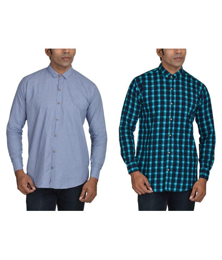 Mr7773 Multi Casual Regular Fit Shirt Pack of 2