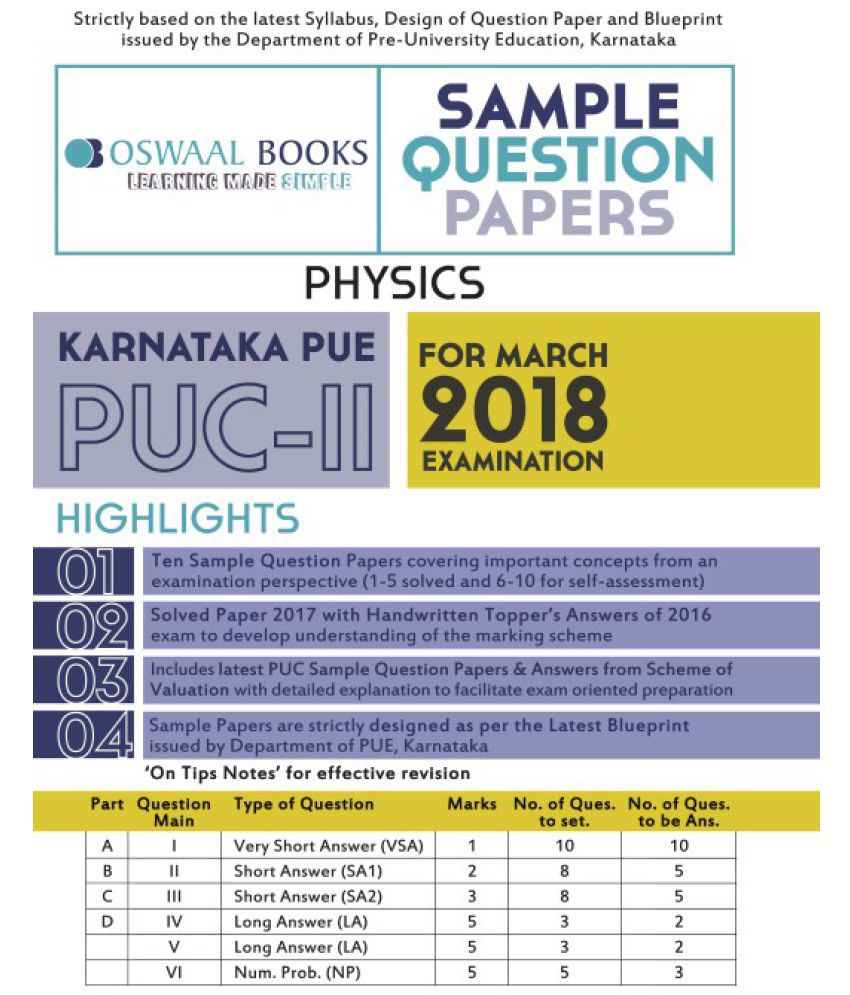Oswaal karnataka pue sample question papers for puc ii physics oswaal karnataka pue sample question papers for puc ii physics march 2018 exam malvernweather Images