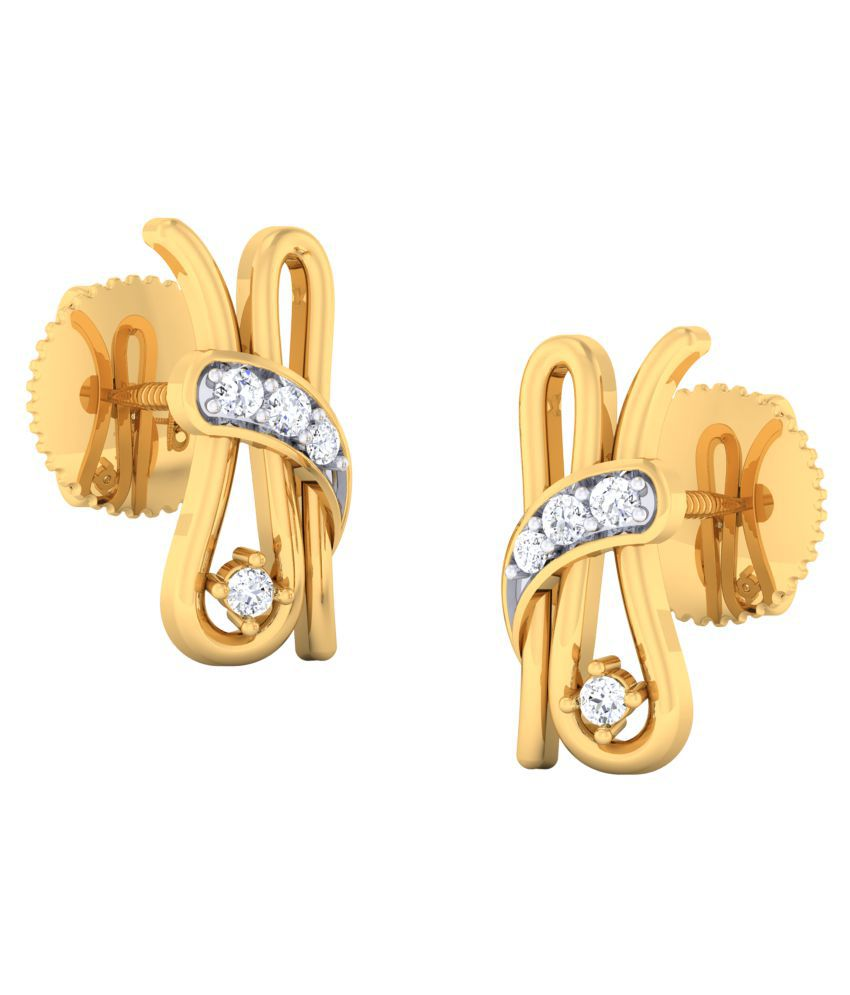 CaratPearl 18KT Yellow Gold and Diamond Drop Earrings for Women…