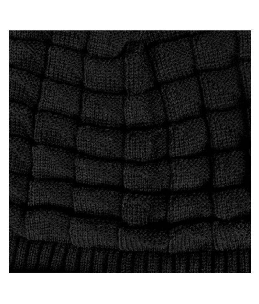 85e8f8f7b09 MSC Black Plain Wool Caps - Buy Online   Rs.