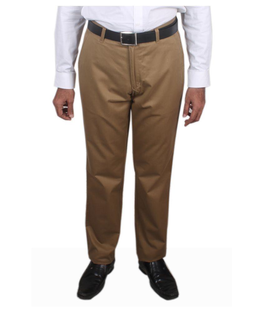 Maharaja Shirt Khaki Regular -Fit Flat Trousers