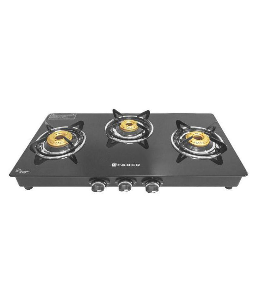 Faber FABER COOKTOP SPLENDOR 3BB BK Brass Burner 3 Burner Manual Gas ...
