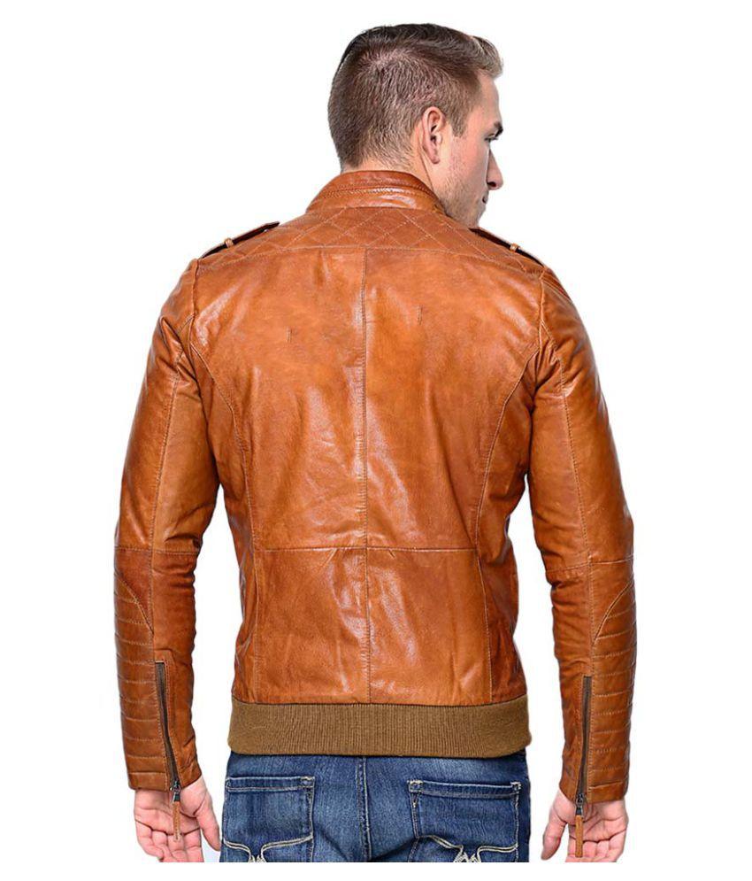 MOZRI Brown Leather Jacket - Buy MOZRI Brown Leather Jacket Online ...