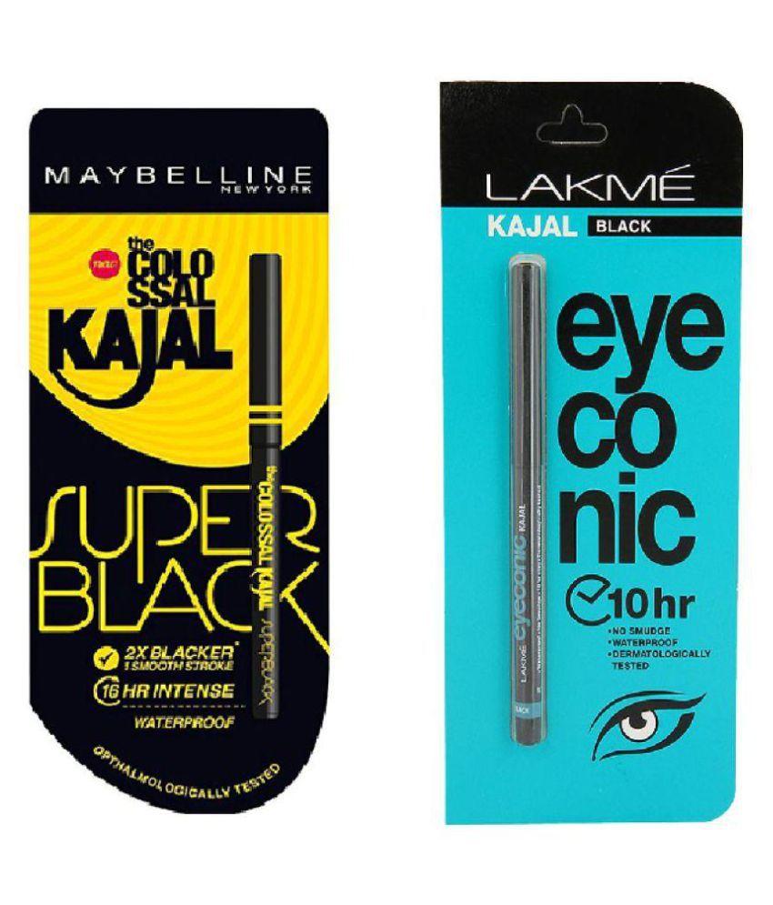 Maybelline Pencil Eyeliner Super Black + Lakme Black Kajal 0.70 gm Pack of 2