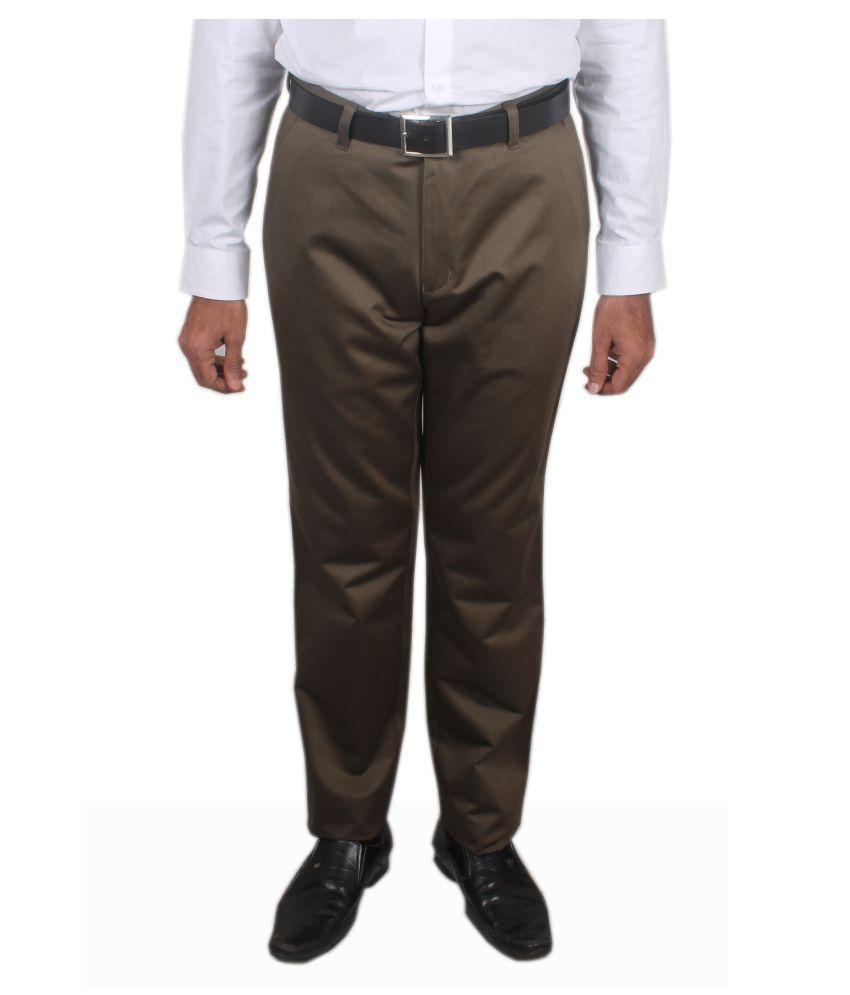 Maharaja Shirt Green Regular -Fit Flat Trousers