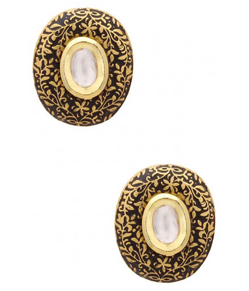Nayanth Black enamel Handcrafted stud earrings