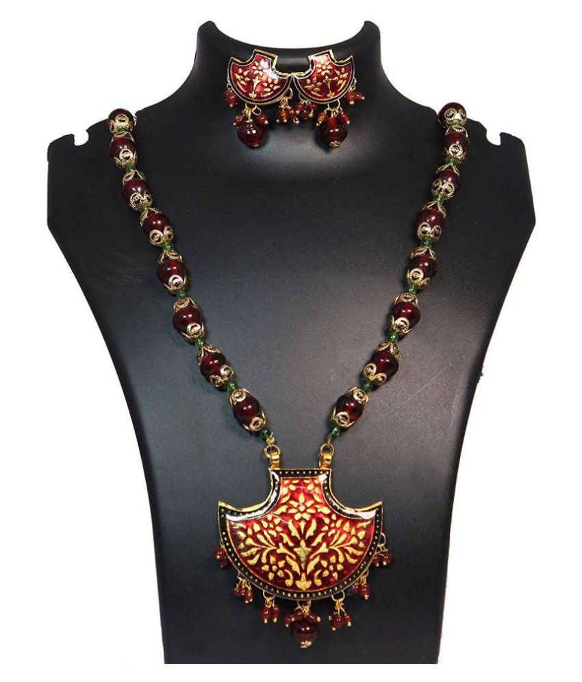 Moogni Traditional Multi Color Peacock Necklace With Earings MG-32