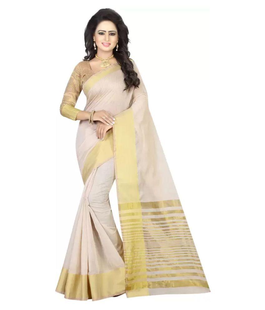 Sahaj Shoppers Off White Chanderi Saree