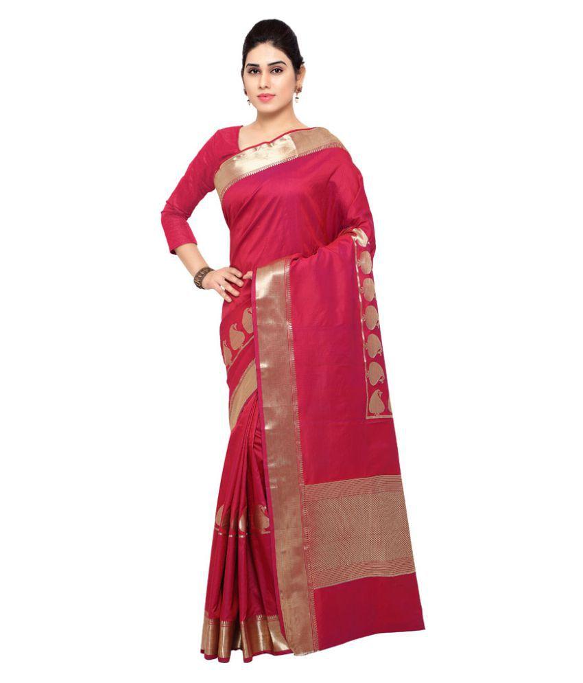 Varkala Silk Sarees Red and Beige Art Silk Saree