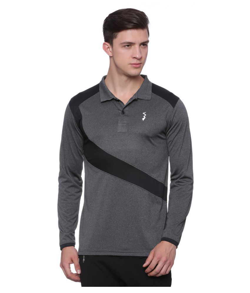 Campus Sutra Charcoal Polyester Polo T-Shirt Single Pack