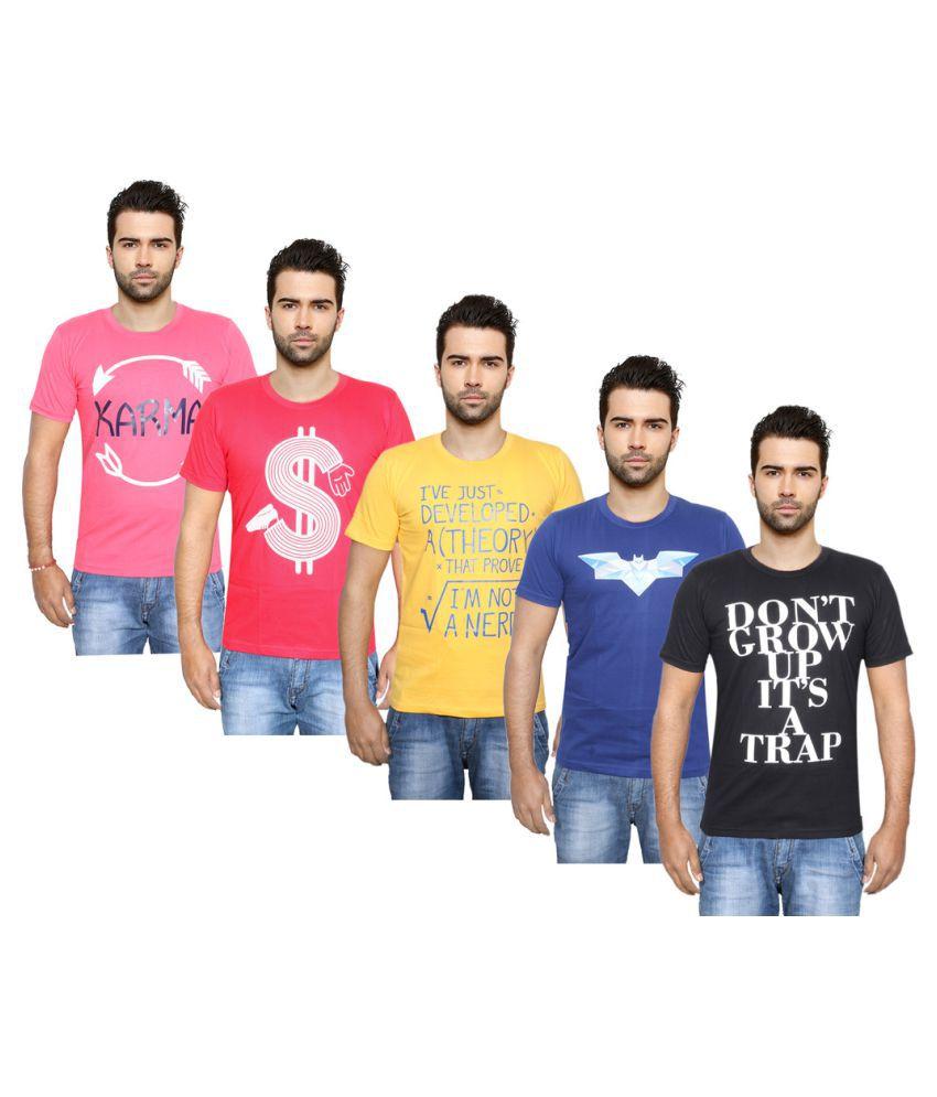 Indiweaves Multi Round T-Shirt Pack of 5