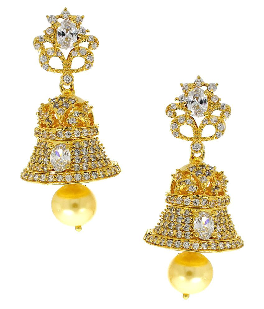 Anuradha Art Golden Jhumkis