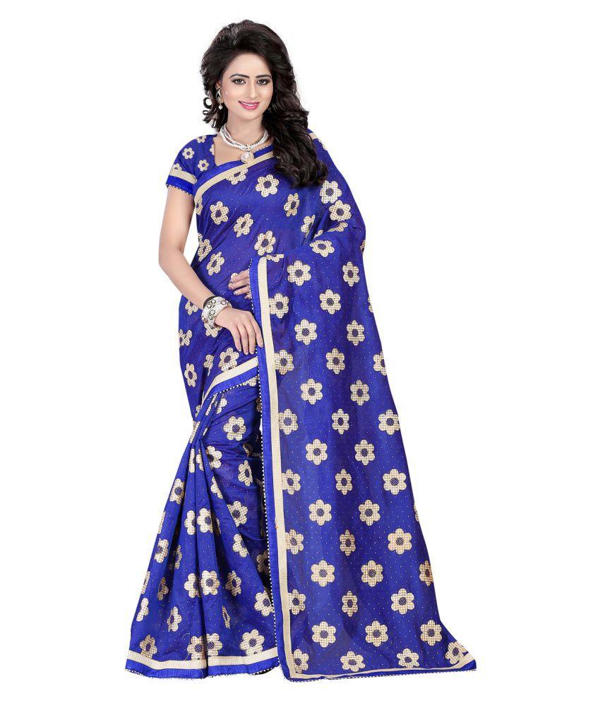 Fashiondeal Blue Chanderi Saree