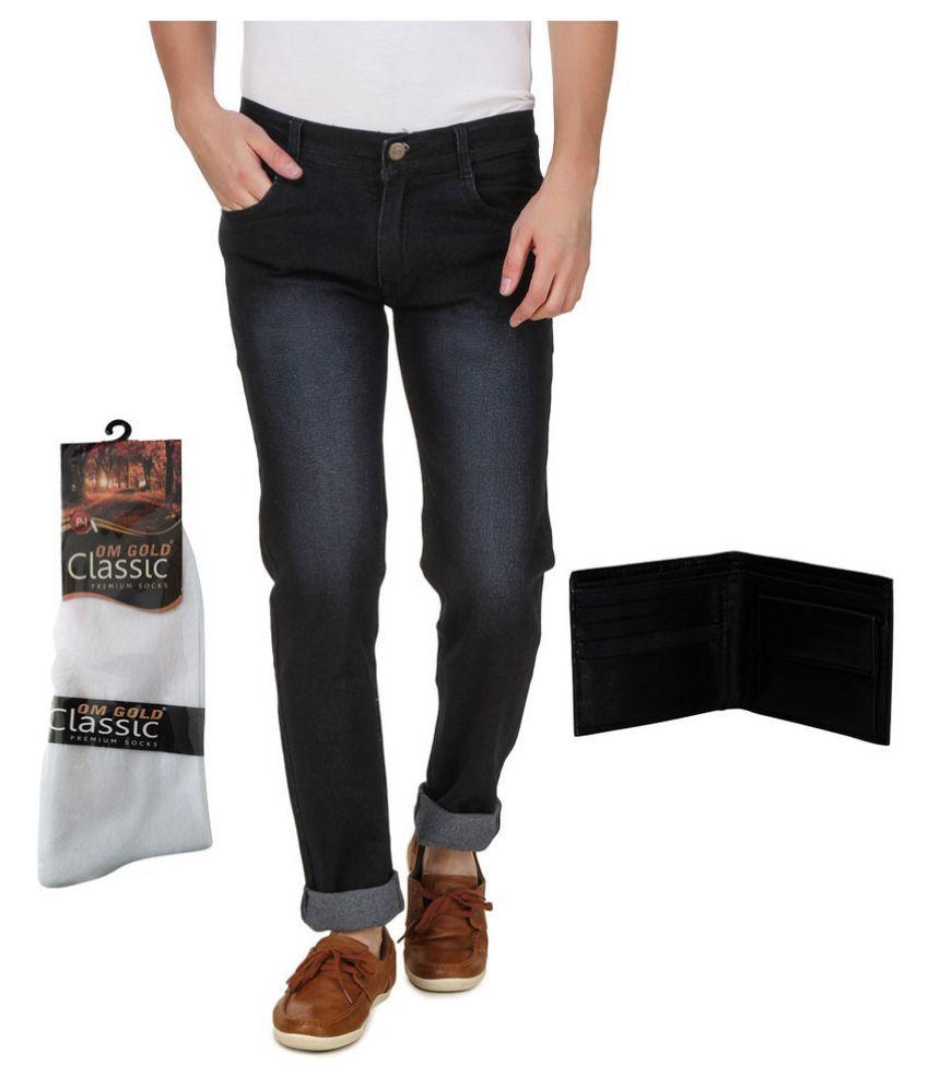 Haltung Black Slim Jeans with Socks and Wallet