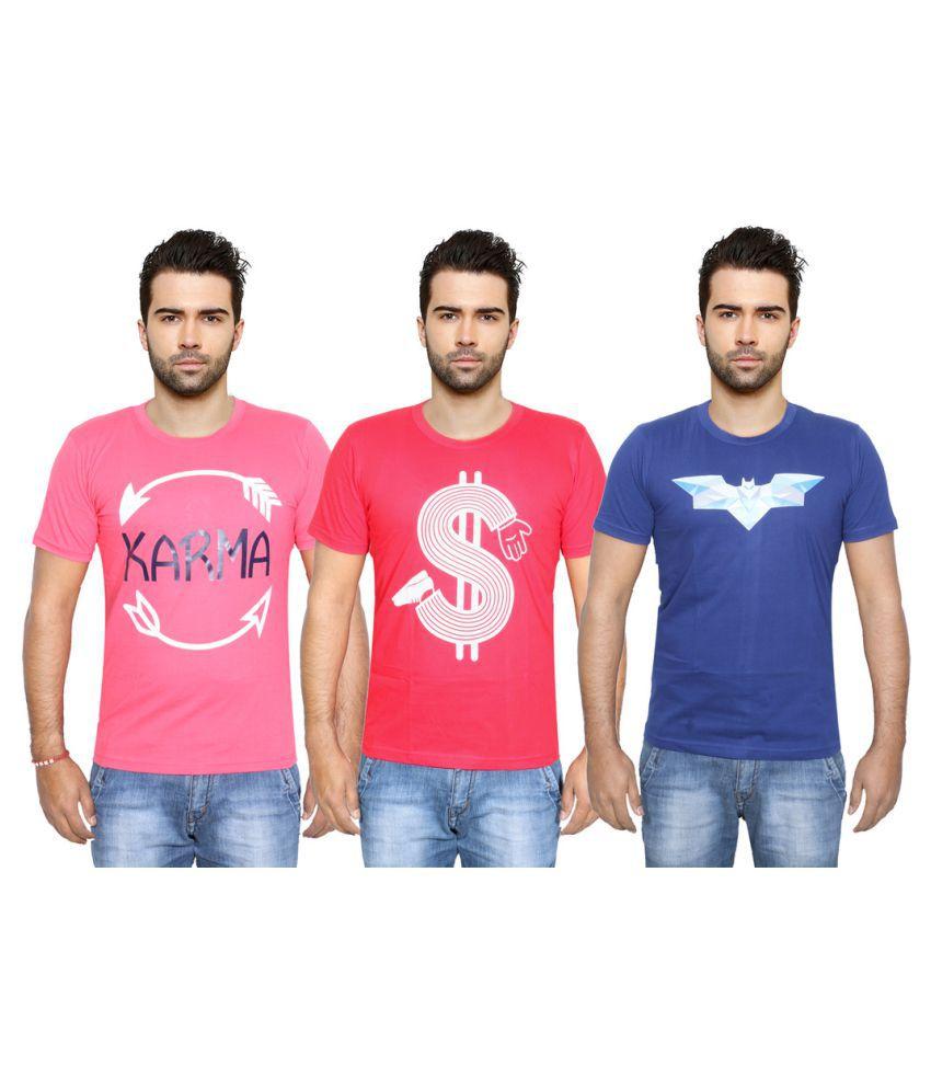 IndiWeaves Multi Round T-Shirt Pack of 3