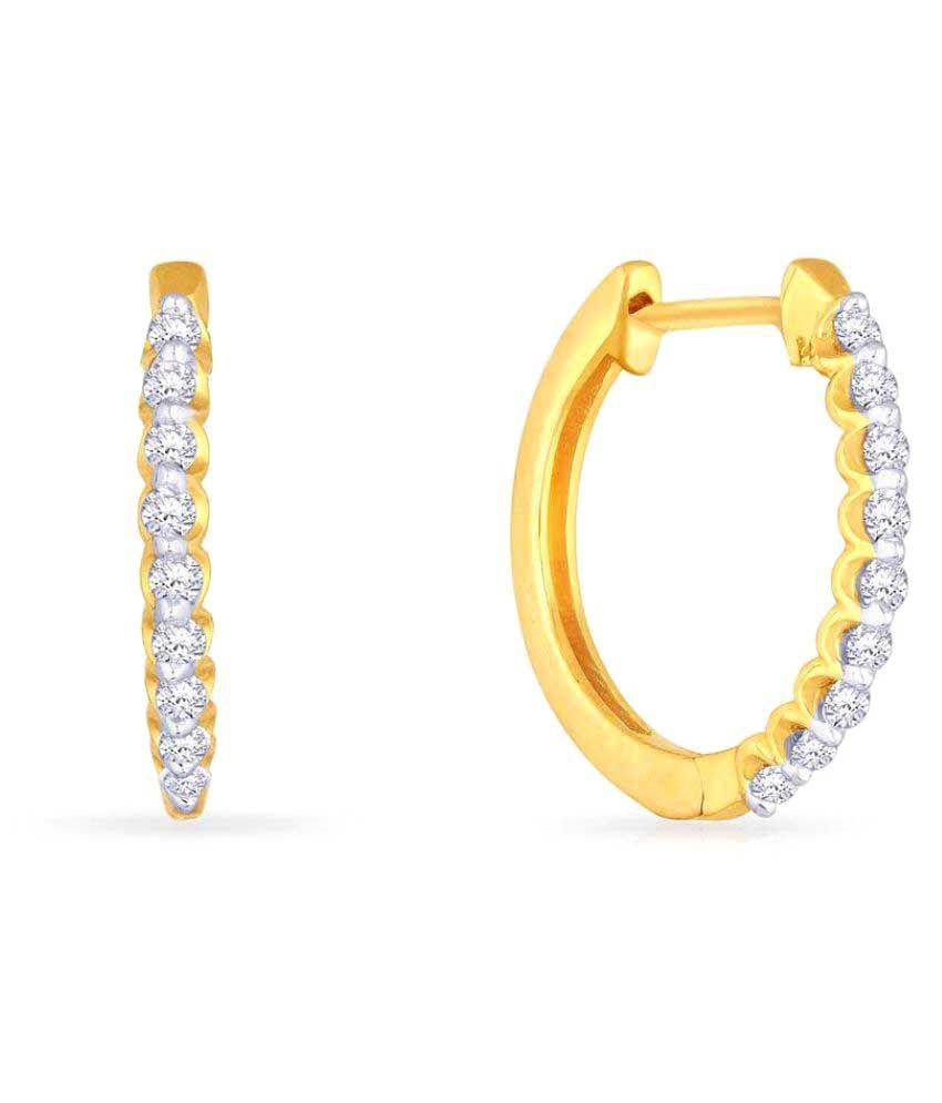 Malabar Gold and Diamonds 18k BIS Hallmarked Yellow Gold Huggies