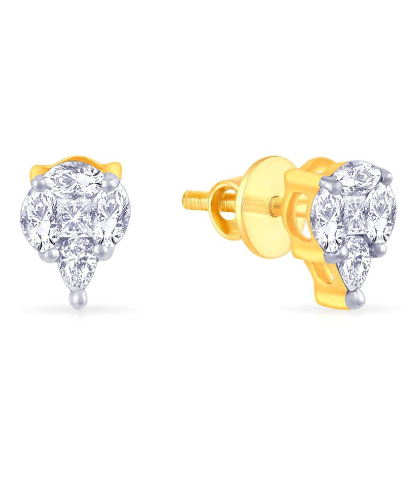 Malabar Gold and Diamonds 18k BIS Hallmarked Yellow Gold Diamond Studs