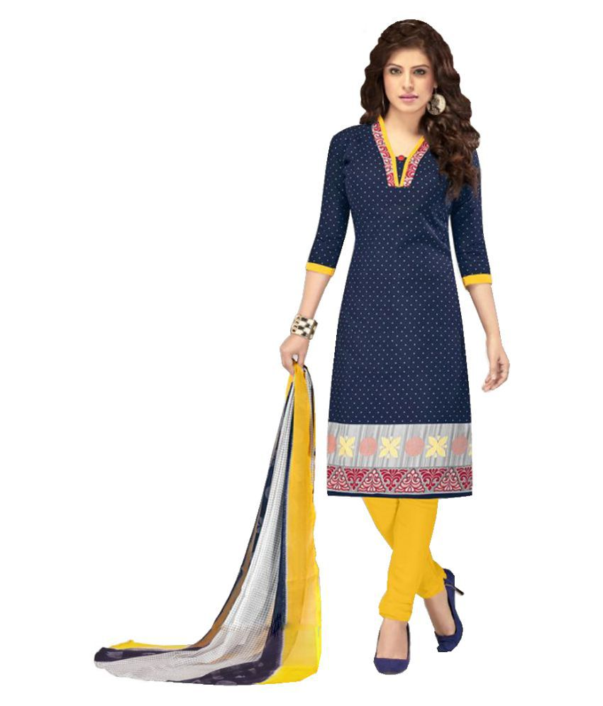 Shivanya Fashion Blue Cotton Dress Material