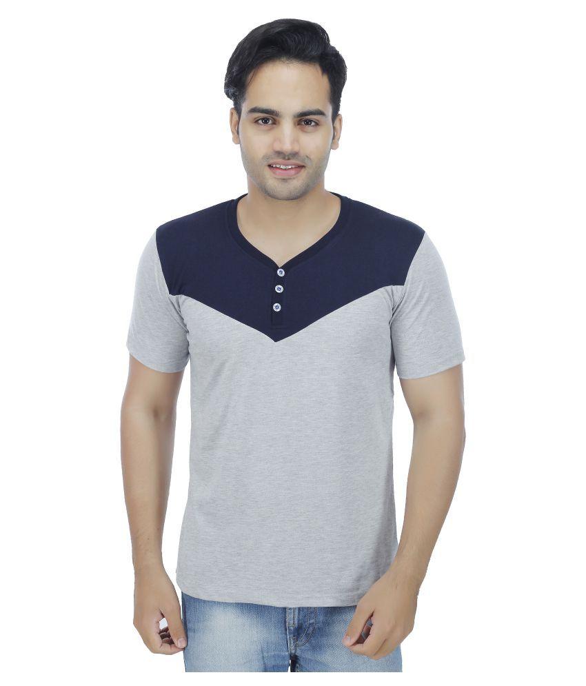 4 Aces Grey V-Neck T-Shirt
