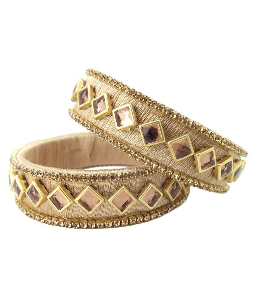 Biyu Beige Silk Thread Kundan Stone Gold Plated Kada Set of 2