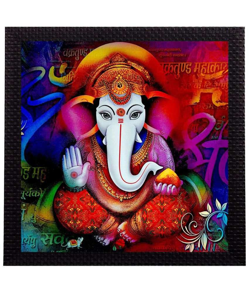 Ecraftindia  Colorful Ganesha Satin Matt Texture UV Art  Multicolor Wood Painting With Frame Single Piece