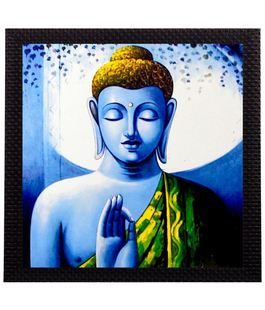 eCraftIndia Meditating Lord Buddha Satin Matt Texture UV Art Wood Painting With Frame Single Piece