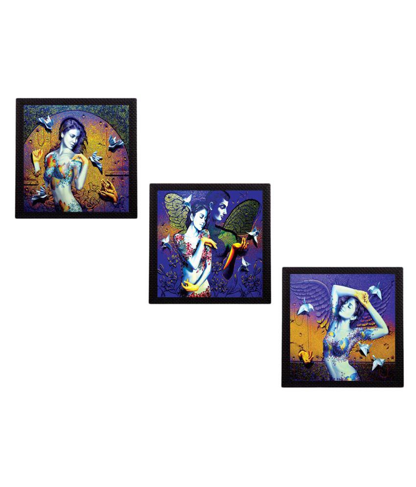 eCraftIndia Beautiful Lady Satin Matt Texture UV Art Wood Painting With Frame Set of 3