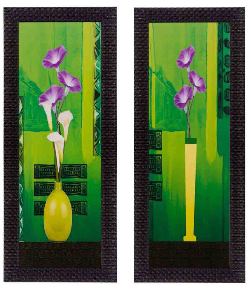 eCraftIndia  Botanical Pots Satin Matt Textured Framed UV Art  Multicolor Wood Painting With Frame Set of 2
