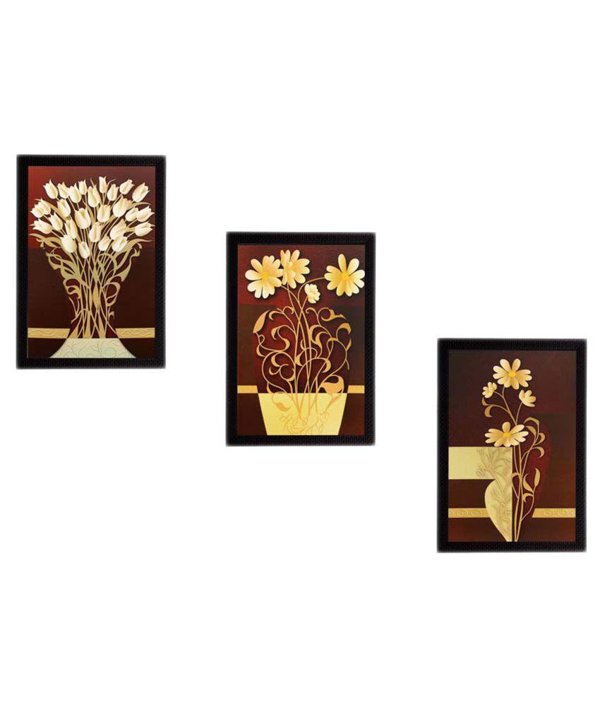 eCraftIndia Botanical Pots Wood Painting With Frame Set of 3