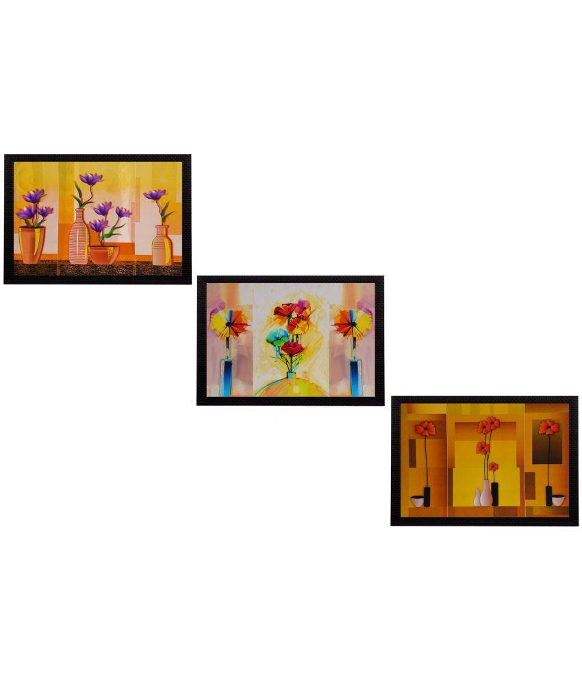 eCraftIndia  Gorgeous Vase Flower Satin Matt Texture UV Art  Multicolor Wood Painting With Frame Set of 3