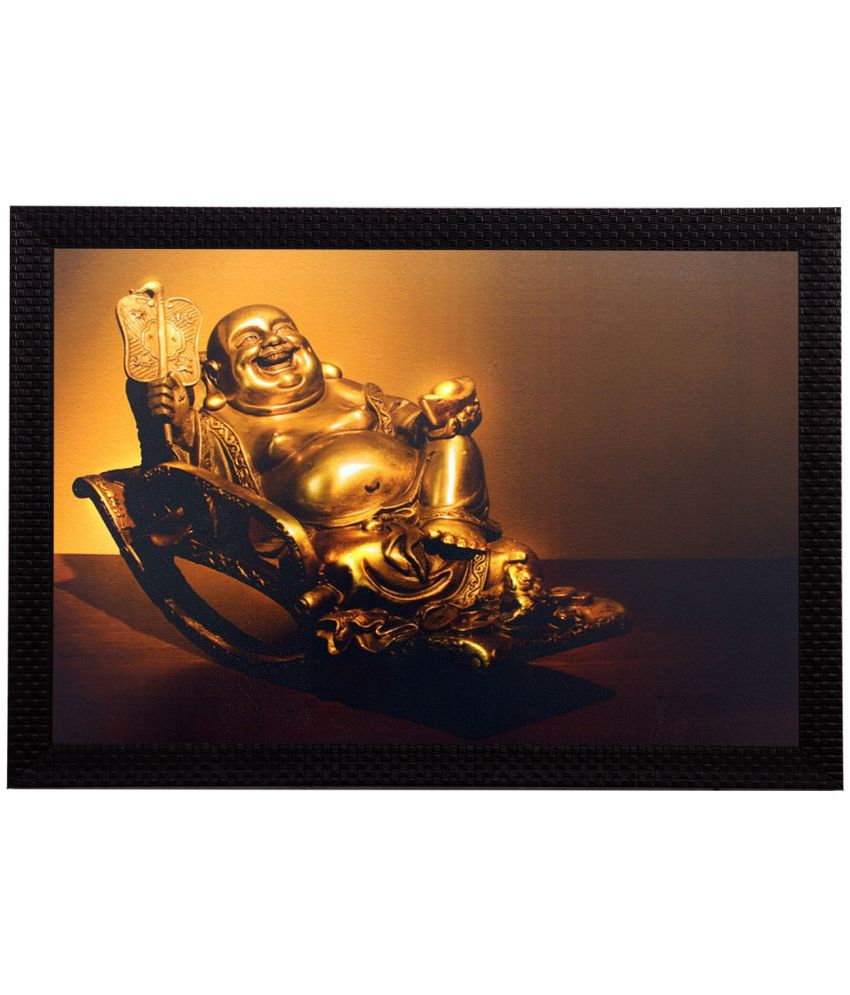 eCraftIndia Laughing Buddha Satin Matt Texture Framed UV Art  Multicolor Wood Painting With Frame Single Piece