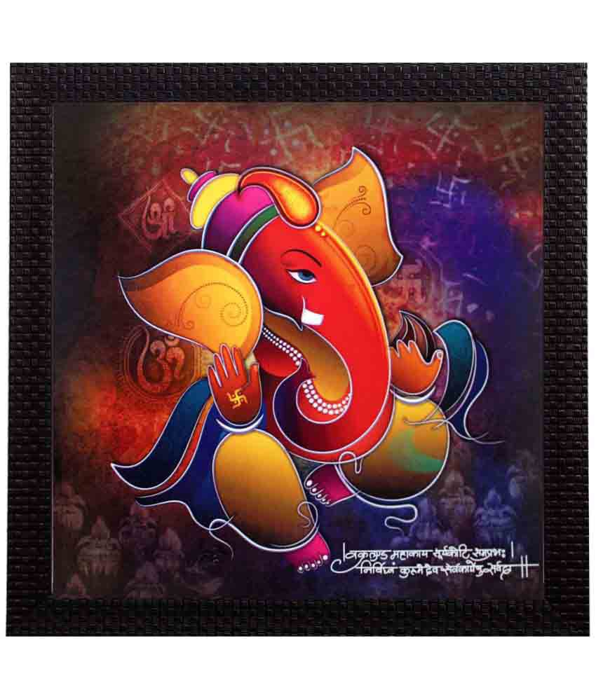 eCraftIndia Lord Ganesha Satin Matt Texture Wood Painting With Frame Single Piece