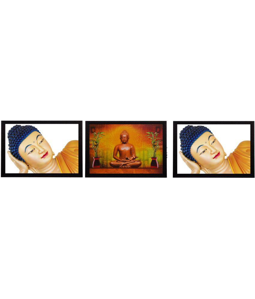 eCraftIndia Holu Lord Buddha Satin Matt Texture Wood Painting With Frame Set of 3