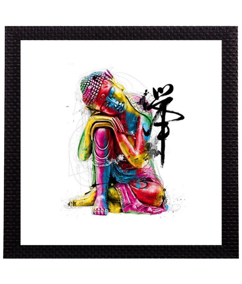 eCraftIndia  Colorful Lord Buddha Satin Matt Texture UV Art  Multicolor Wood Painting With Frame Single Piece