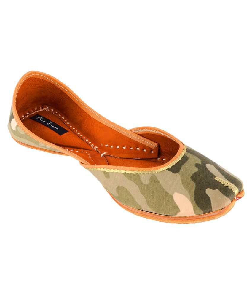 Alex Brown Green Flat Ethnic Footwear