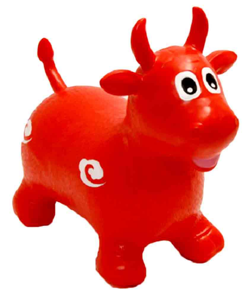 Multi Shop Red Hopping Cow Musical Toy, Inflatable Jumping Cow Ride-on  Bouncy With Air Pump - Set of 1