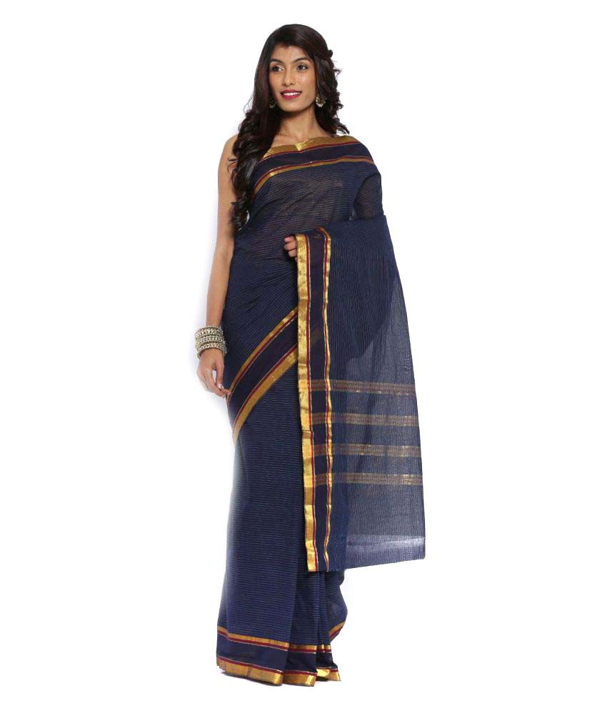 Platinum Blue Cotton Saree