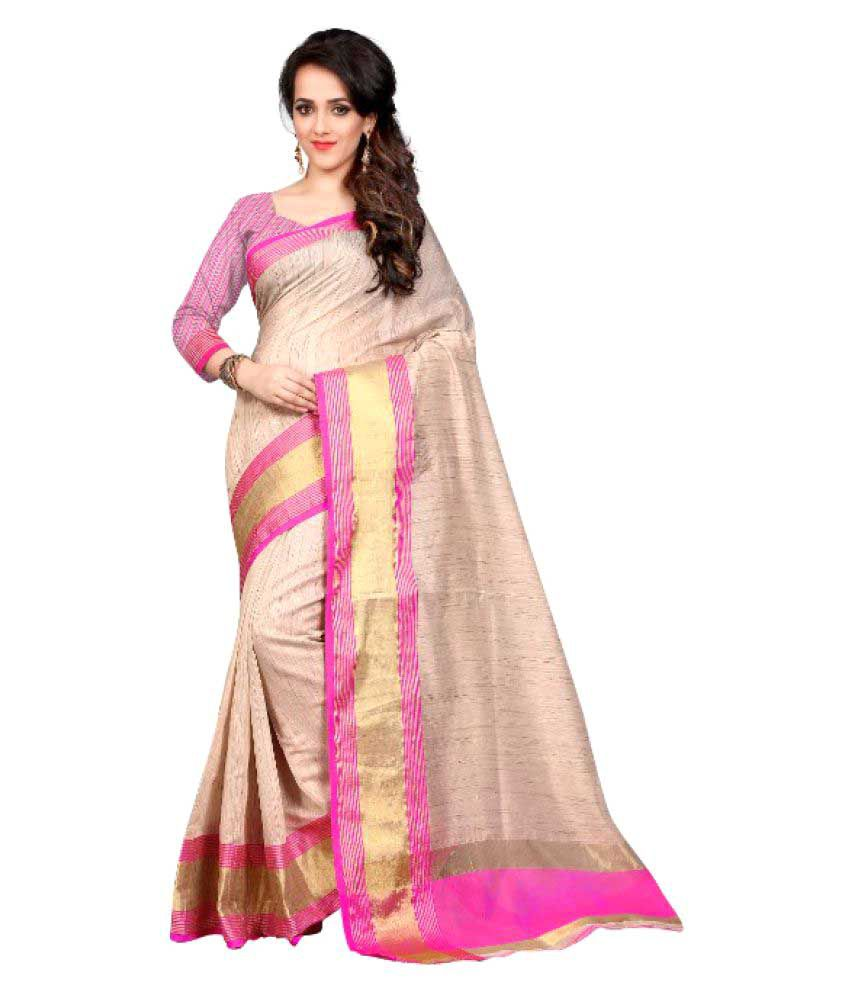 Skyzone Group Beige Cotton Silk Saree