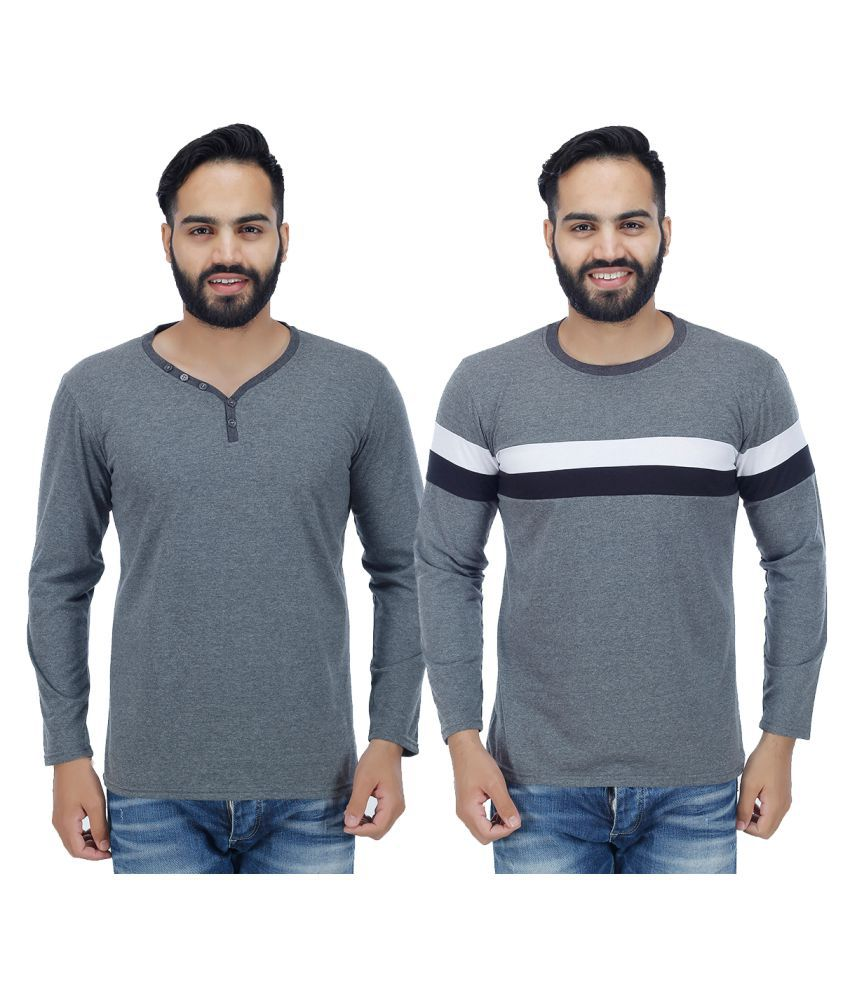 Christy World Grey Henley T-Shirt Pack of 2