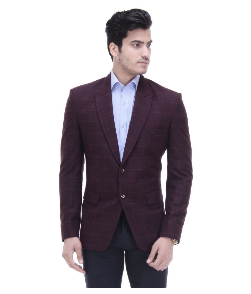 Tag 7 Maroon Checks Casual Blazers