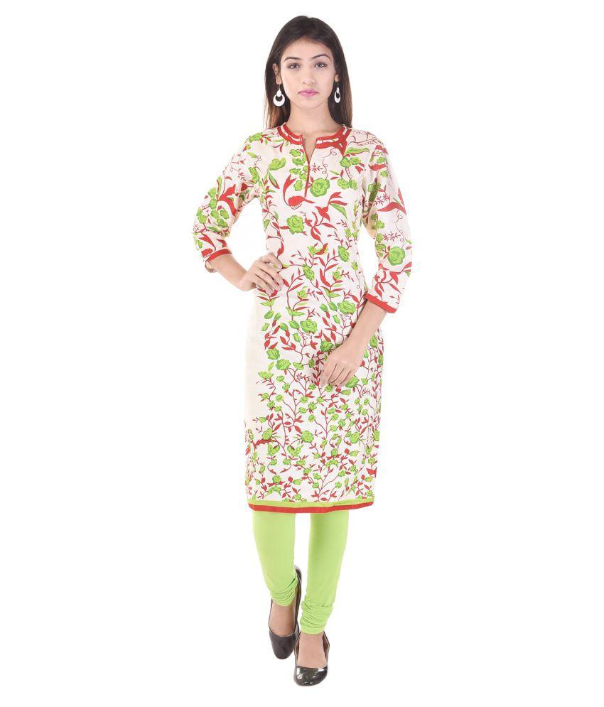 Baalaa Multicoloured Cotton Straight Kurti