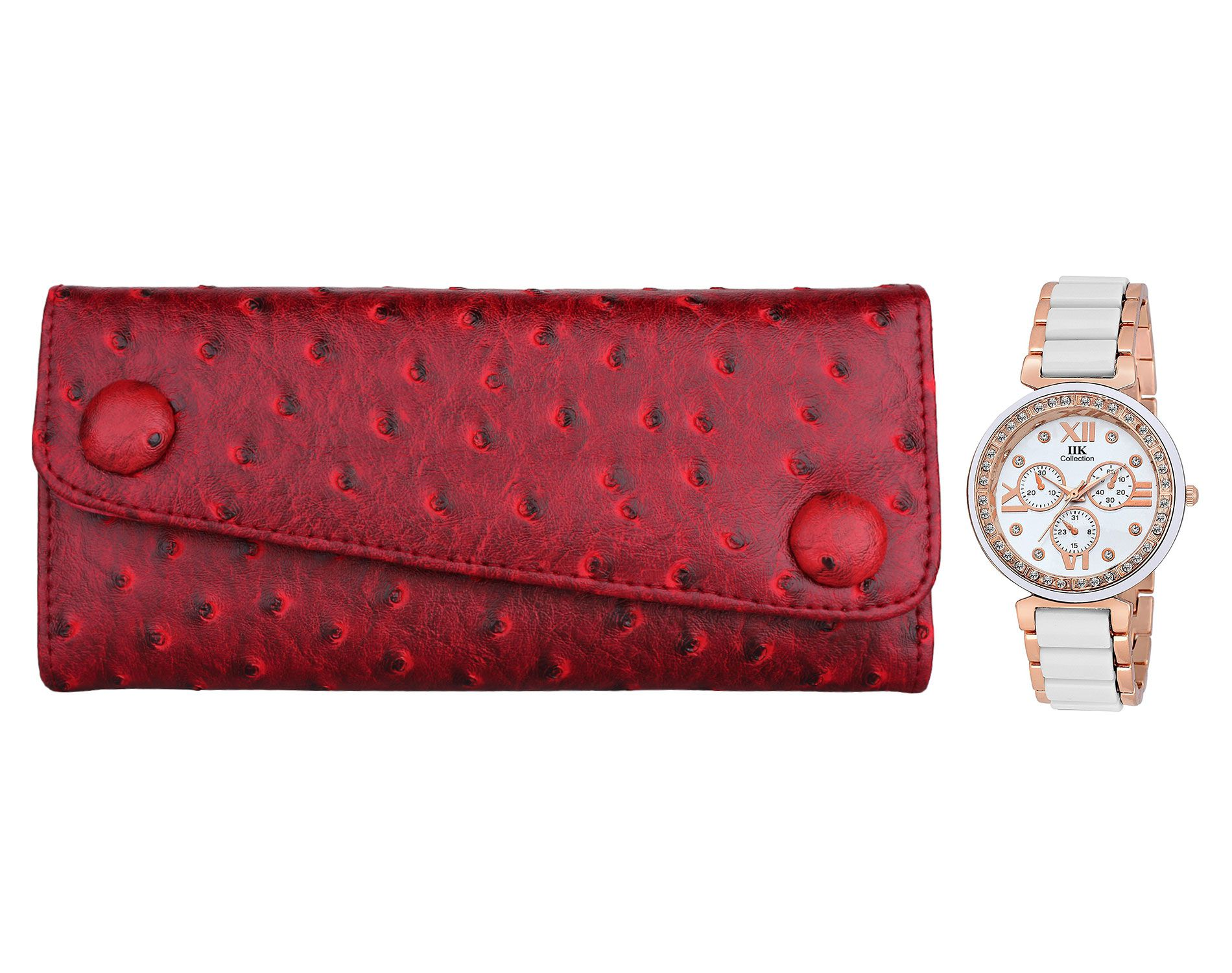 IIK Collection Red Wallet with Watch